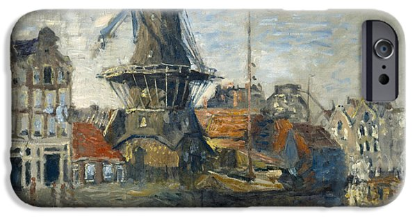 Vintage Painter iPhone Cases - The Windmill on the Onbekende Gracht Amsterdam iPhone Case by Claude Monet