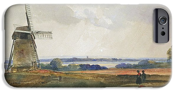 Romanticism iPhone Cases - The Windmill iPhone Case by Peter de Wint