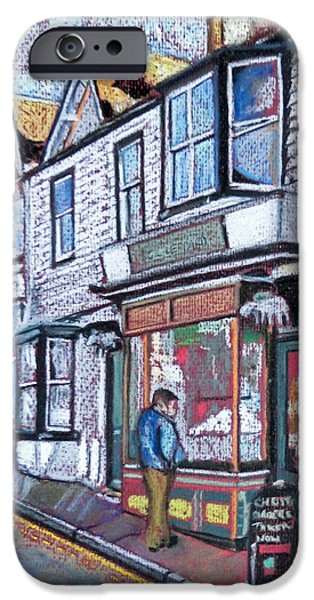 Village Pastels iPhone Cases - The Window Shopper iPhone Case by Callan Percy