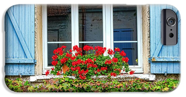 Overgrown iPhone Cases - The Window with the Geraniums and the Blue Shutters iPhone Case by Olivier Le Queinec