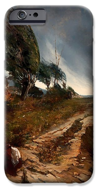 Dark Skies Paintings iPhone Cases - The Windstorm iPhone Case by Antonio Parreiras