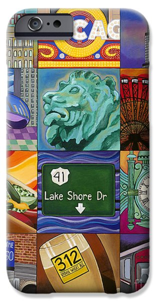 Chicago Paintings iPhone Cases - The Windy City iPhone Case by Carla Bank