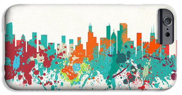 Willis Tower iPhone Cases - The Windy City Chicago Skyline - Painted iPhone Case by World Art Prints And Designs