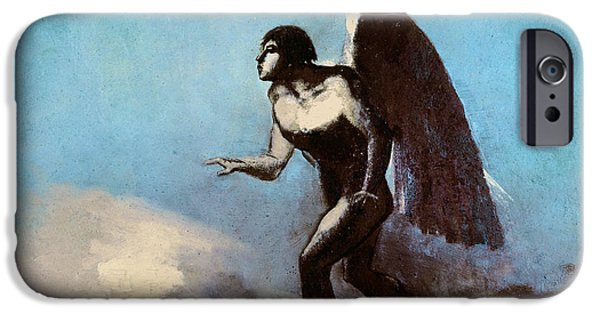 Old Testament iPhone Cases - The Winged Man Or, Fallen Angel, Before 1880 Oil On Cardboard iPhone Case by Odilon Redon