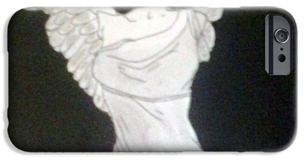 Nike Drawings iPhone Cases - The Winged Victory of Samothrace iPhone Case by Erin Miller