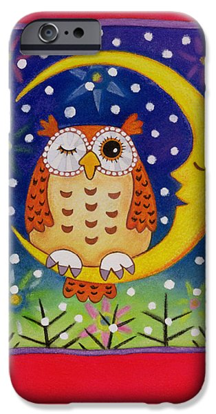 Man In The Moon iPhone Cases - The Winking Owl, 1997 Pastel On Paper iPhone Case by Cathy Baxter