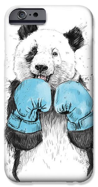Animal Drawings iPhone Cases - The Winner iPhone Case by Balazs Solti