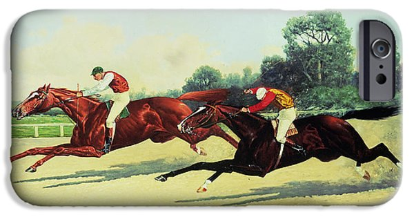 Crops Paintings iPhone Cases - The Winning Post in Sight iPhone Case by Henry Stull