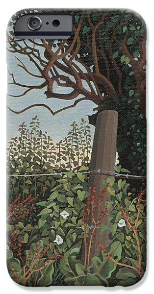 Rural iPhone Cases - The Wire Fence Oil On Canvas iPhone Case by Anna Teasdale