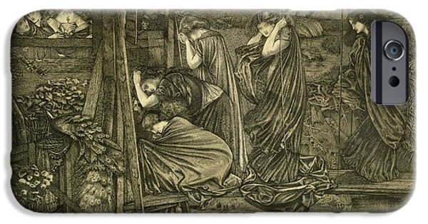 Oil Lamp Photographs iPhone Cases - The Wise And Foolish Virgins Etching iPhone Case by Sir Edward Coley Burne-Jones
