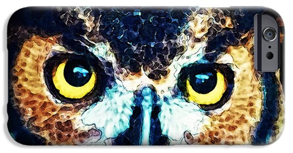 Print Photographs iPhone Cases - The Wise One - Owl Art By Sharon Cummings iPhone Case by Sharon Cummings