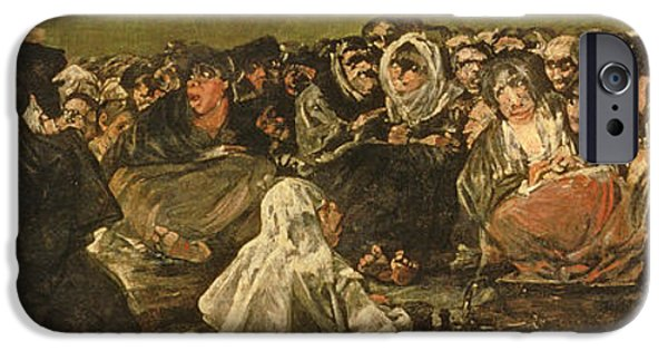Mural Photographs iPhone Cases - The Witches Sabbath Or The Great He-goat, One Of The Black Paintings, C.1821-23 Oil On Canvas iPhone Case by Francisco Jose de Goya y Lucientes