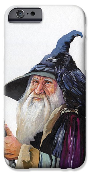 Fate Paintings iPhone Cases - The Wizard and the Raven iPhone Case by J W Baker