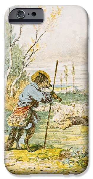 Fable iPhone Cases - The Wolf As A Shepherd, From The Fables By Jean De La Fontaine 1621-95 Colour Litho iPhone Case by Jules David