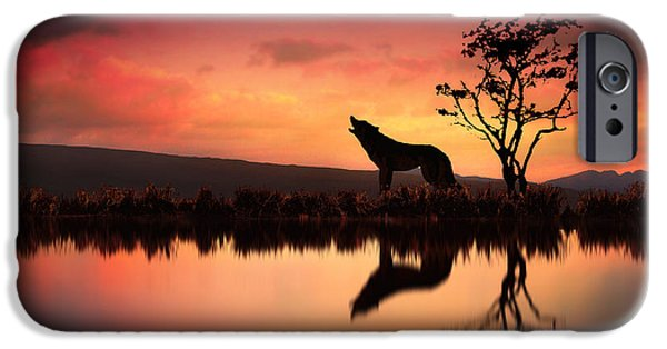 Wolf Digital Art iPhone Cases - The Wolf at Sunset iPhone Case by Jennifer Woodward