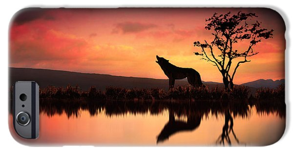 Wolves Digital iPhone Cases - The Wolf at Sunset iPhone Case by Jennifer Woodward