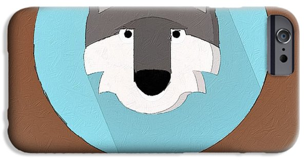 Wolf Digital Art iPhone Cases - The Wolf Cute Portrait iPhone Case by Florian Rodarte