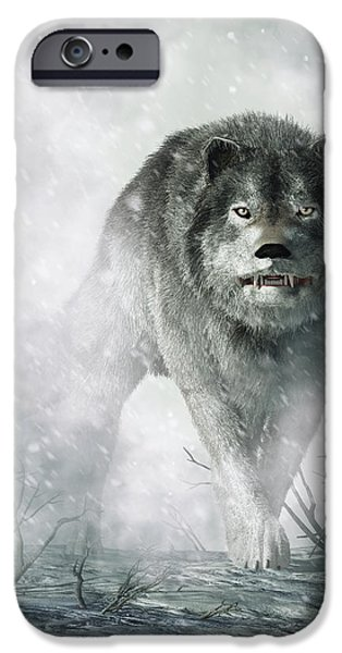 Animal Lover Digital iPhone Cases - The Wolf of Winter iPhone Case by Daniel Eskridge