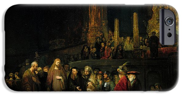 Temple Paintings iPhone Cases - The Woman taken in Adultery iPhone Case by Rembrandt