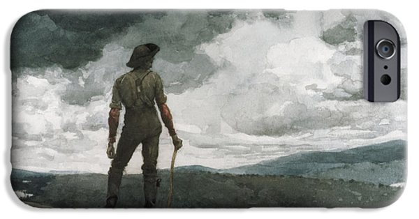 Beach Landscape Drawings iPhone Cases - The Woodcutter iPhone Case by Celestial Images