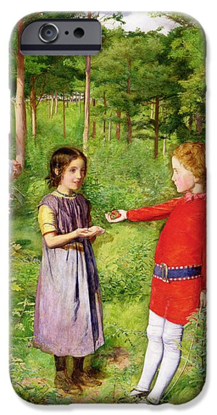 Pres iPhone Cases - The Woodmans Daughter, 1851 Oil On Canvas iPhone Case by Sir John Everett Millais
