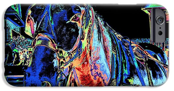 American Saddlebred Art iPhone Cases - The Working Horse II iPhone Case by Annie Zeno