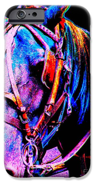 American Saddlebred Art iPhone Cases - The Working Horse III iPhone Case by Annie Zeno