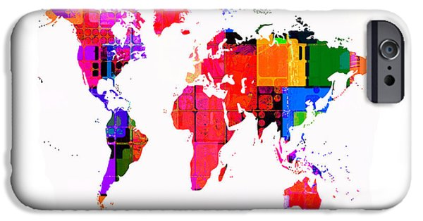 Abstract Digital Art iPhone Cases - The World Map in Colour iPhone Case by Karl Jones