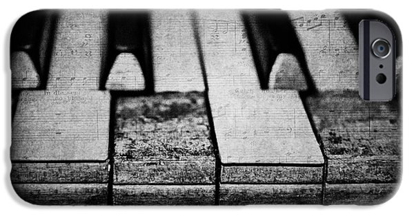 Piano iPhone Cases - The Worn Tunes in Black and White iPhone Case by Emily Enz
