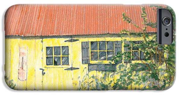 Shed Drawings iPhone Cases - The Yellow Shed iPhone Case by Elizabeth Martin