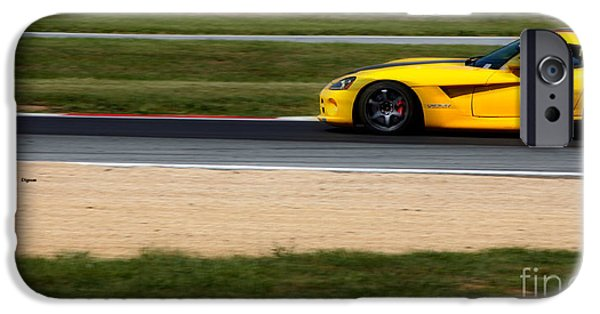 Racetrack Digital Art iPhone Cases - The Yellow Viper  iPhone Case by Steven  Digman