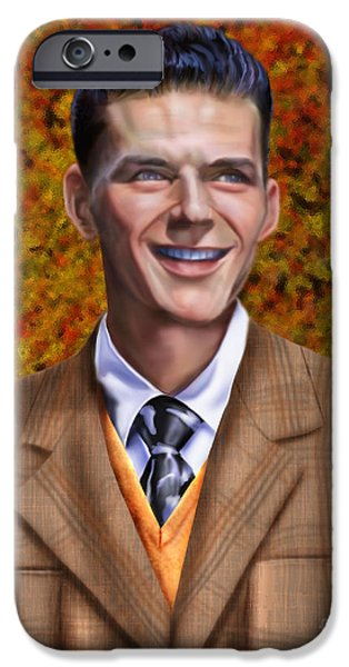 Frank Sinatra Paintings iPhone Cases - The Young Chairman - Sinatra iPhone Case by Reggie Duffie