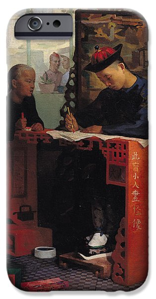 Furniture iPhone Cases - The Young Chinese Scribe Oil On Canvas iPhone Case by Theodore Delamarre