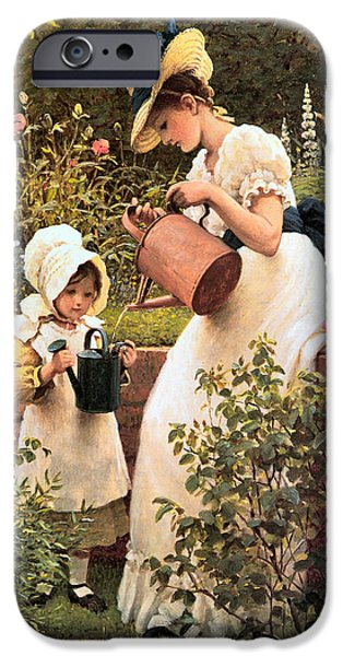 Little Girl iPhone Cases - The Young Gardener 1889 iPhone Case by George Dunlop Leslie