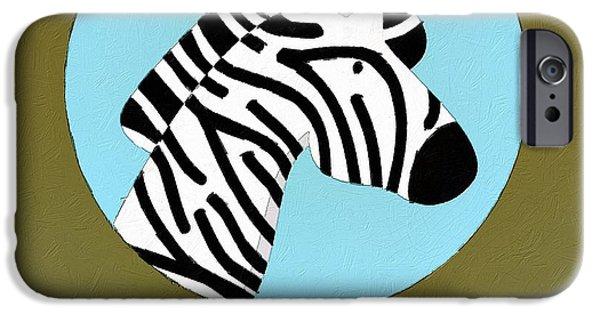 Zebra Digital iPhone Cases - The Zebra Cute Portrait iPhone Case by Florian Rodarte