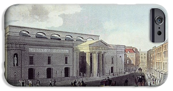 Thoroughfare iPhone Cases - Theatre Royal, Covent Garden, 1809 Colour Litho iPhone Case by English School