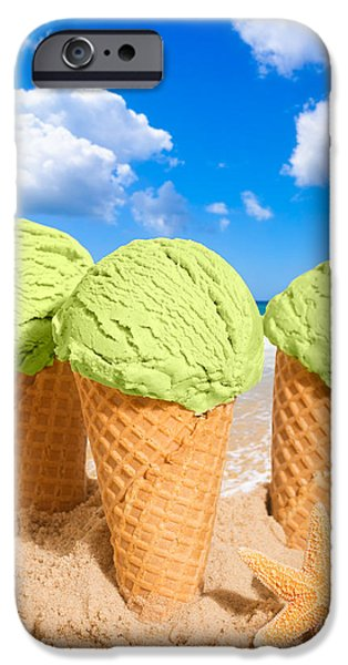 Cream iPhone Cases - Thee Minty Icecreams iPhone Case by Amanda And Christopher Elwell