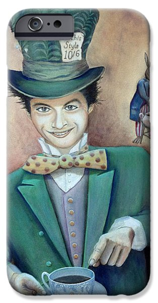 Tea Party iPhone Cases - The Hatter iPhone Case by Mr Dill