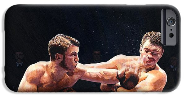 Punching iPhone Cases - Theodore Roosevelt as a Young Man Boxing iPhone Case by Rob Wood