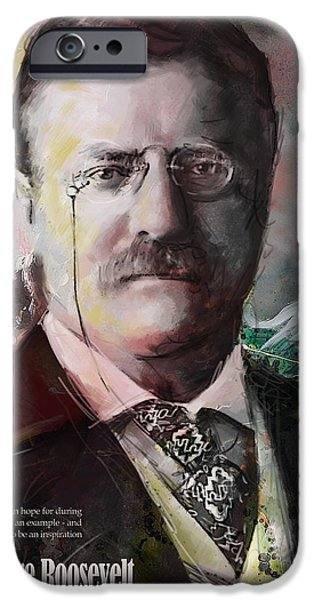 Thomas Jefferson Paintings iPhone Cases - Theodore Roosevelt iPhone Case by Corporate Art Task Force