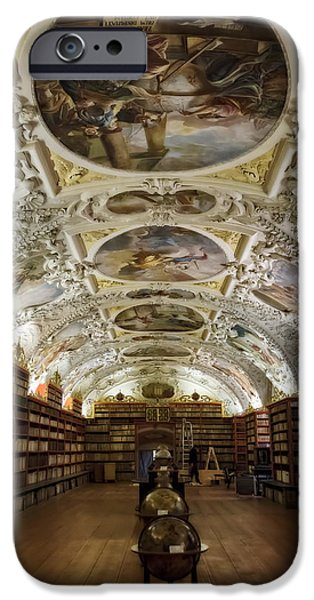 Painted Hall iPhone Cases - Theological Hall Strahov Monastery iPhone Case by Joan Carroll