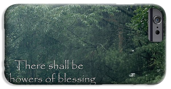 Ezekiel iPhone Cases - There shall be showers of blessing iPhone Case by Denise Beverly