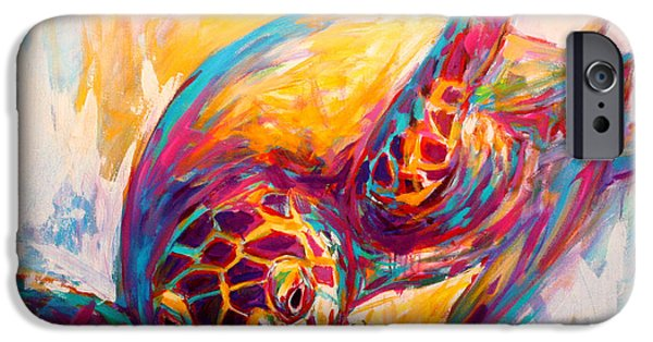 Abstract Seascape Paintings iPhone Cases - Theres More than Just fish in the Sea - Sea Turtle Art iPhone Case by Mike Savlen
