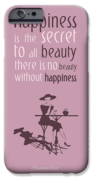Quote iPhone Cases - Theres no beauty without happiness iPhone Case by Gina Dsgn