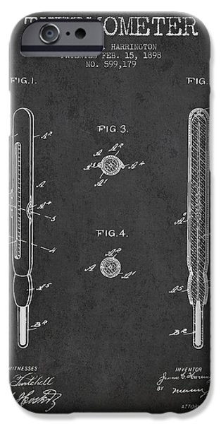 Temperature iPhone Cases - Thermometer patent from 1898 - Dark iPhone Case by Aged Pixel