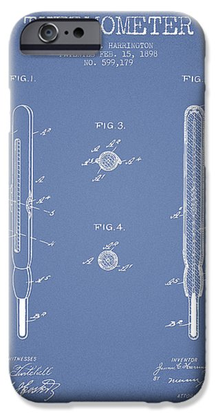 Temperature iPhone Cases - Thermometer patent from 1898 - Light Blue iPhone Case by Aged Pixel