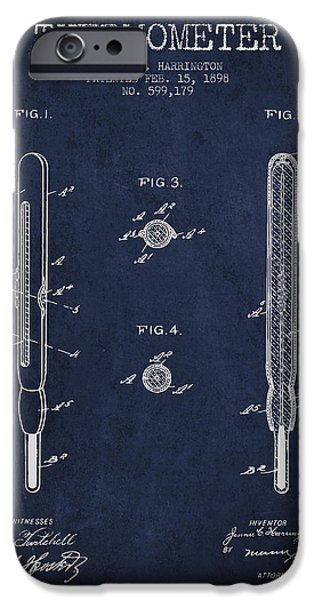 Temperature iPhone Cases - Thermometer patent from 1898 - Navy Blue iPhone Case by Aged Pixel