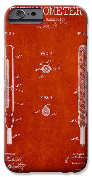 Temperature iPhone Cases - Thermometer patent from 1898 - Red iPhone Case by Aged Pixel