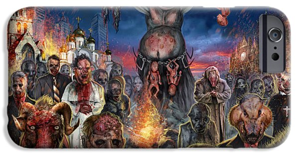 Slam Mixed Media iPhone Cases - These Pigs Have Taken Over iPhone Case by Tony  Koehl