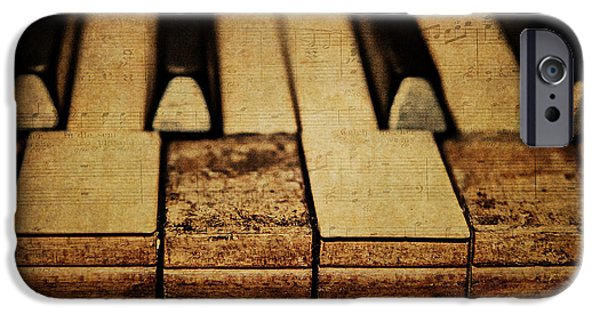Piano iPhone Cases - These Worn Tunes iPhone Case by Emily Enz